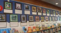 Mr. Mahseredjian's class has artwork up at McGill library in the Children's Section for the month of January and February